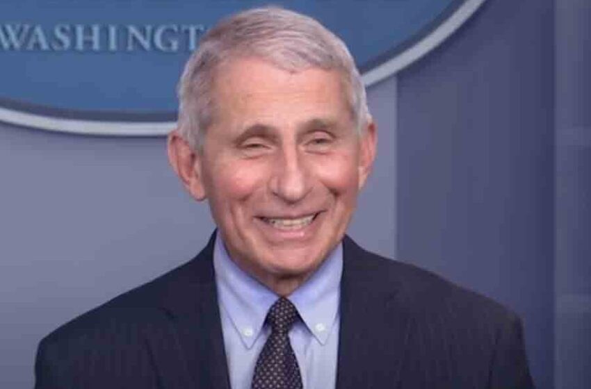 "In latest press conference Dr. Fauci lets loose evil laugh, repeating ""You're all going to die!"""